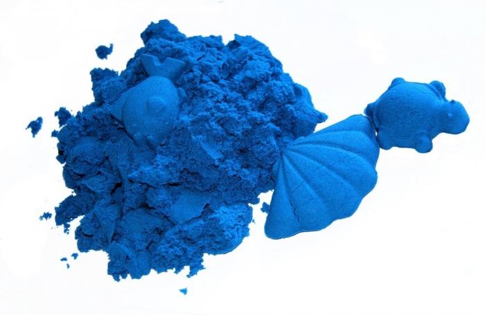 Kinetický písek - modrý - 2kg + formičky zdarma