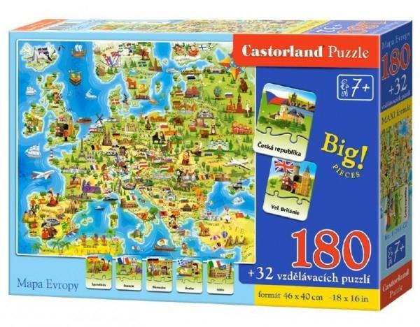 Puzzle Mapa Evropy 180 dílků + 32 puzzlí naučné 46x40cm v krabici 33x23x5cm