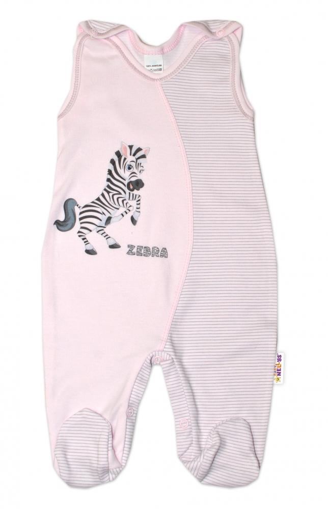 Kojenecké bavlněné dupačky, Zebra - růžové, vel. 56