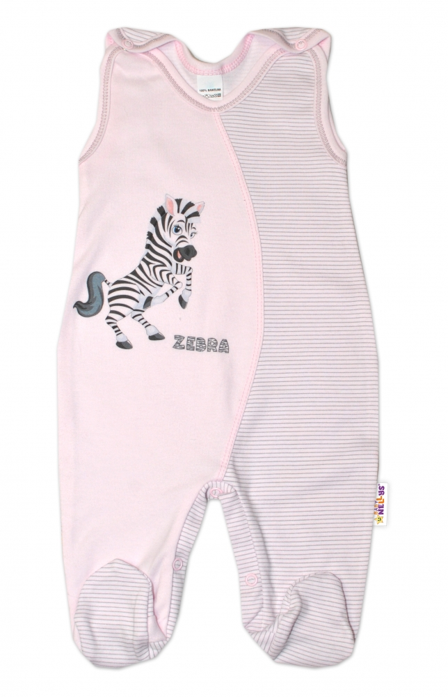 Kojenecké bavlněné dupačky, Zebra - růžové, vel. 68