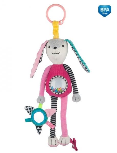 Canpol babies Závěsná plyšová hračka se zrcátkem a chrastítkem - růžová