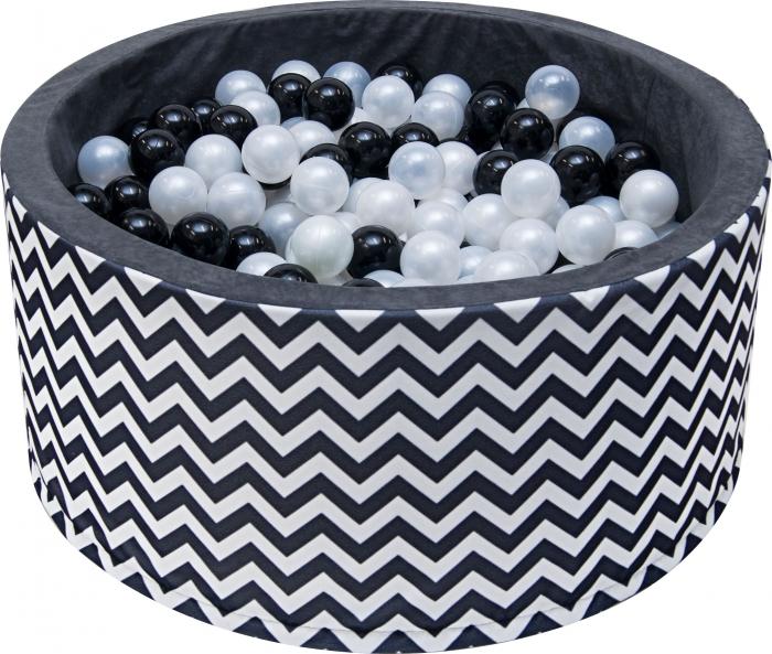 Bazén pro děti 90x40cm - zig zag černobílý s balónky