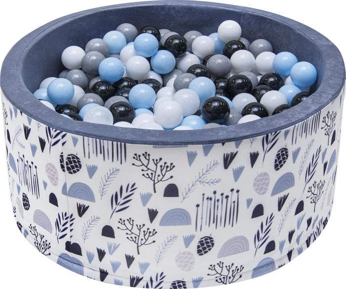 NELLYS Bazén pro děti 90x40cm - louka, šedý s balónky, Ce19