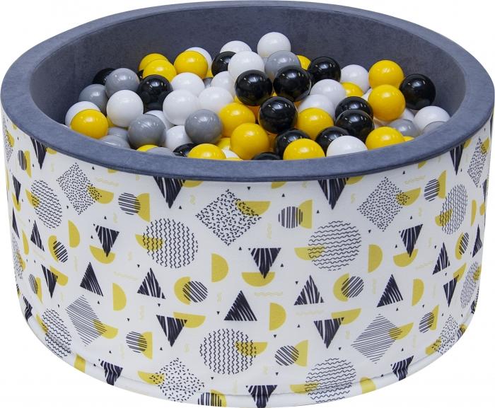 NELLYS Bazén pro děti 90x40cm - tvary, šedý s balónky, Ce19
