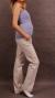 Těhotenské kalhoty s boční kapsou - tm. béžová