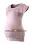 Těhotenské triko krátký rukáv PROUŽEK - růžová-bílá