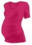Těh. tričko kr. rukáv s výstřihem do V - sytě růžové