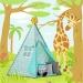 Stan pro děti TIPI + podložka a 2 polštářky - Zvířátka a hvězdičky mátové