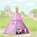 Stan pro děti TIPI + podložka a 2 polštářky - Bubble retro růžové a šedé