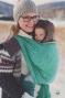 Little FROG Žakárový tkaný šátek na nošení dětí - GREEN CUBE